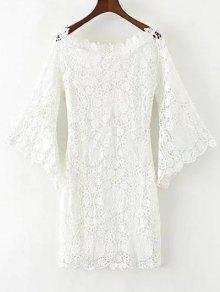 Bell Sleeve Crochet Bodycon Dress - White