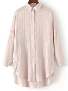 Linen Blend Button Up Blouse Loose Shirt