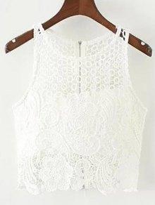 Crochet Flower Padded Crop Top - White L