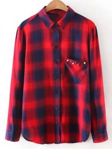 Checked Patch Pocket Shirt - Red M