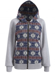 Zip Up Jacquard Tribal Hoodie