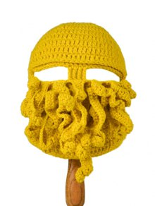 Tentacle Octopus Shape Crochet Mask Hat - Yellow