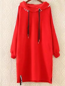 Plus Size Tape Sleeve Hoodie Dress