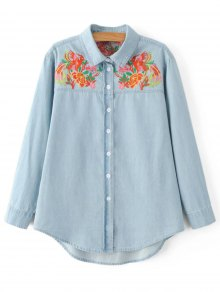 Embroidered Yoke Denim Shirt
