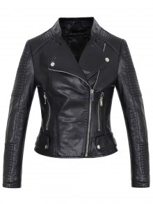 Faux Leather Rib Trim Biker Jacket - Black L
