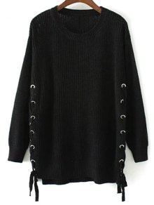Lace Up Hem Open Stitch Sweater - Black M