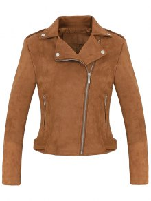 Cropped Faux Suede Biker Jacket - Brown M