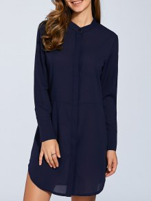 Long Sleeves Straight Button Up Tunic Shirt Dress - Blue