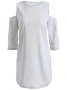 Loose Cold Shoulder T-Shirt - Gray