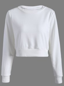 Casual Sports Cropped Sweatshirt - White