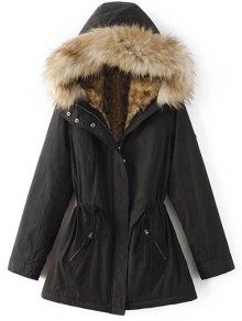 Buy Faux Fur Lined Parka Coat - BLACK XL