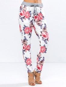 Floral Print Drawstring Narrow Feet Pants - Floral