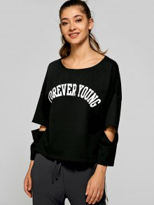 Split Sleeve FOREVER YOUNG T-Shirt