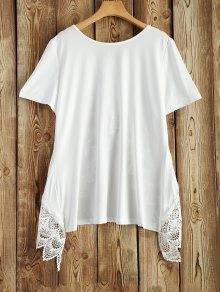 Más El Tamaño De Manga Corta Camiseta - Blanco Xl