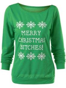 Merry Christmas Snowflake Print Sweatshirt - Green M