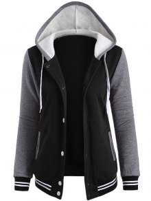 Varsity Baseball Fleece Hoodie Jacket - Black S