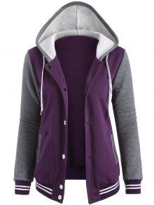 Varsity Baseball Fleece Hoodie Jacket - Purple S