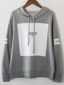 Zip Hem Panelled Oversized Hoodie - Gray