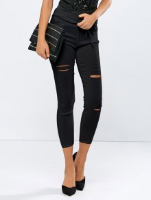 Ripped Skinny Ninth Pants - Black