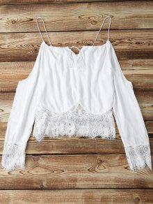 Combined Lace White Crop Top - White