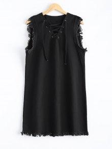 Con Cordones De Vestido Con Flecos - Negro M