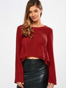 Long Sleeve Frilly Crop Top