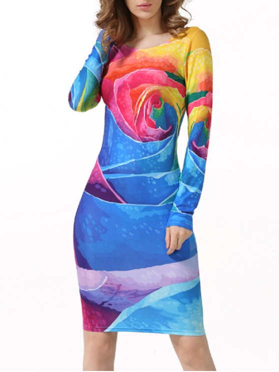 ladies Tie-Dyed Long Sleeve Bodycon Dress - MULTICOLOR XL
