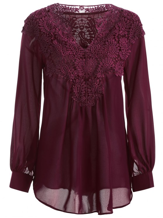 buy Crochet Floral Long Sleeve Blouse - WINE RED M