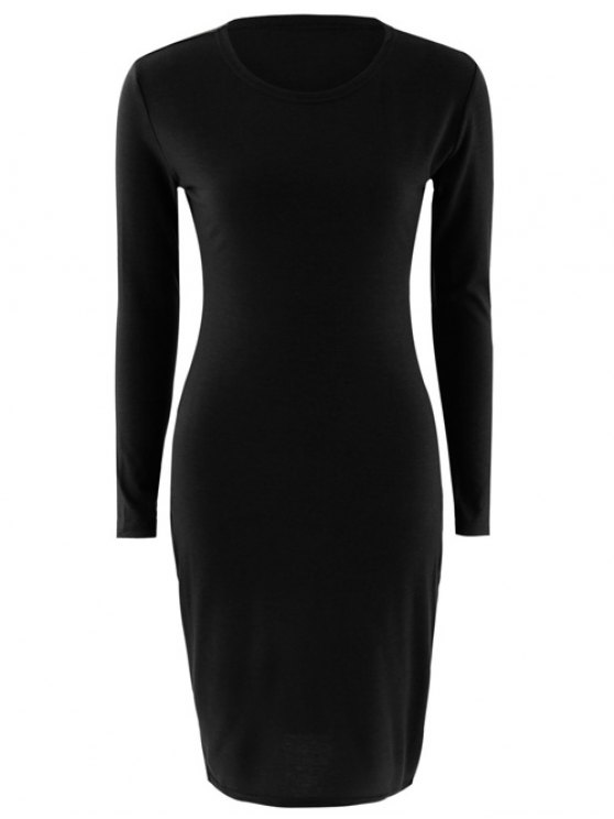 Stretchy Long Sleeves Bodycon Dress - BLACK S Mobile