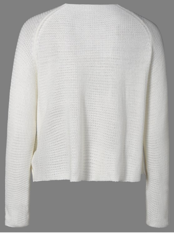 Fringed Lace-Up Sweater - WHITE M Mobile