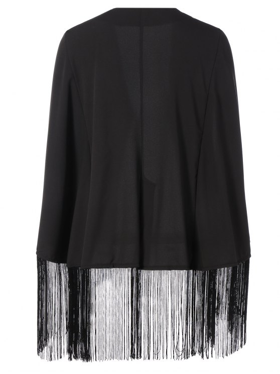 Fringe Asymmetric Cape Blazer - BLACK XL Mobile