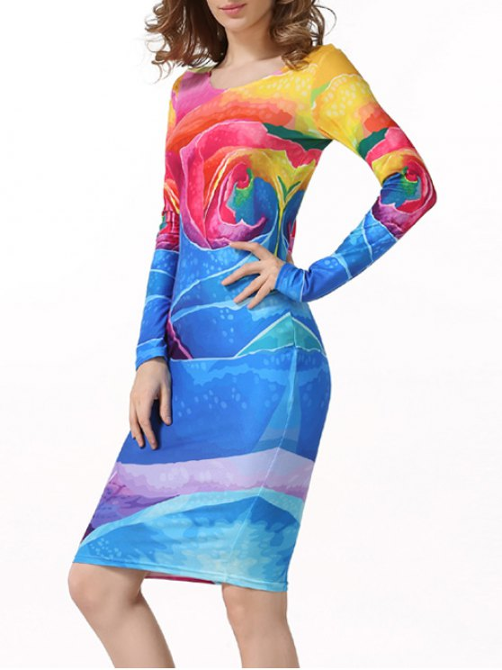 Tie-Dyed Long Sleeve Bodycon Dress - MULTICOLOR L Mobile