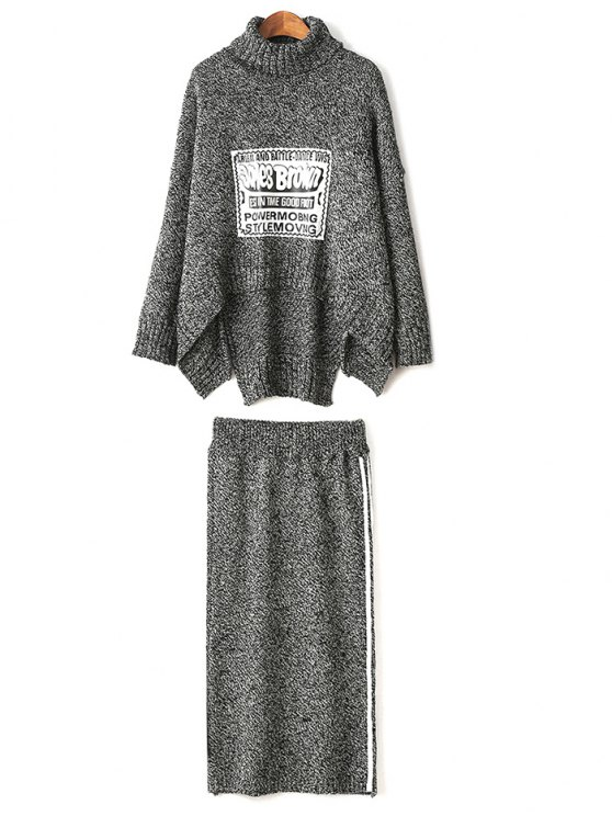 Turtle Neck Sweater and Skirt - GRAY ONE SIZE Mobile
