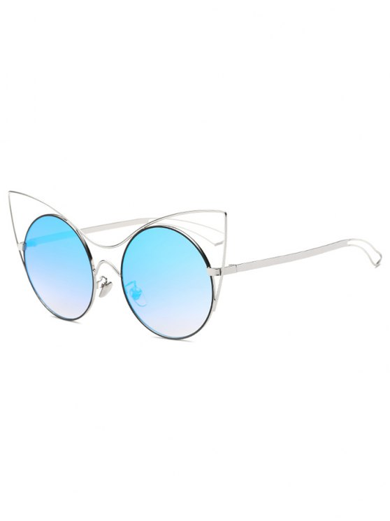 outfit Hollow Out Leg Cat Eye Mirror Sunglasses - ICE BLUE
