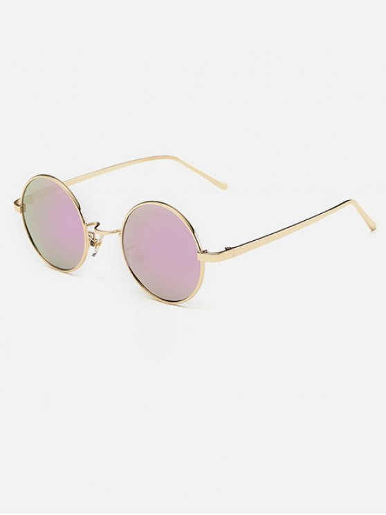 shops Streetwear Metal Round Mirror Sunglasses - PINK