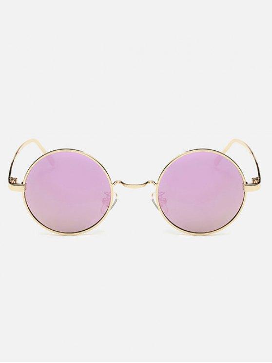 Streetwear Metal Round Mirror Sunglasses - PINK  Mobile