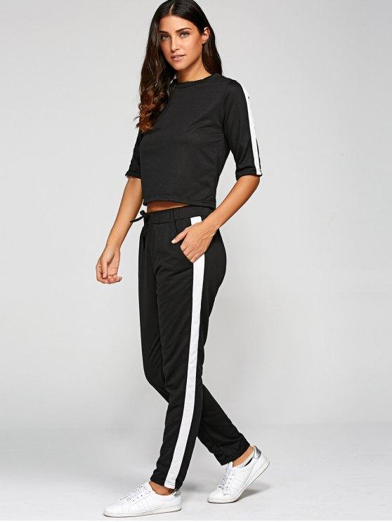 1/2 Sleeve T Shirt + Pants - BLACK S Mobile