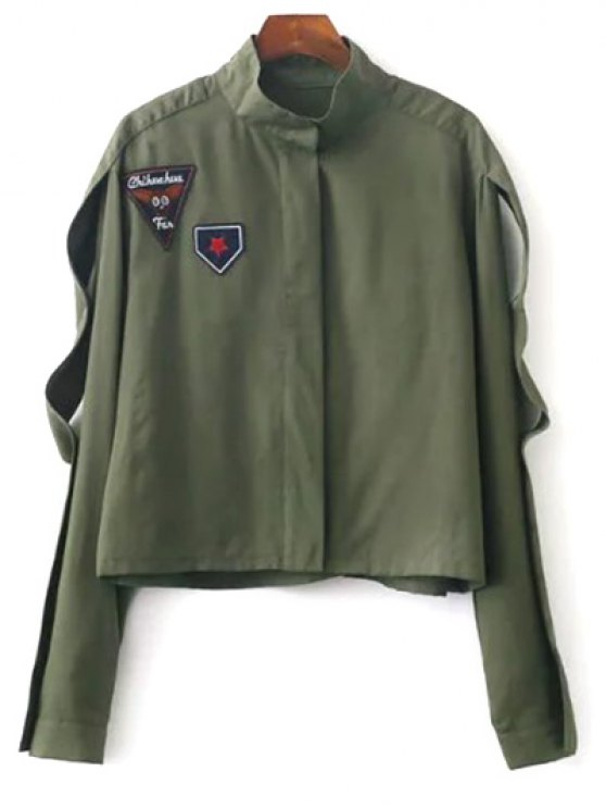 sale Patchwork Stand Neck Cropped Jacket - ARMY GREEN M