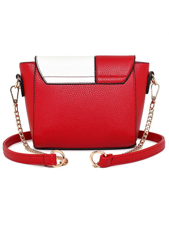 Characters Printed Chain Colour Spliced Crossbody Bag - RED  Mobile