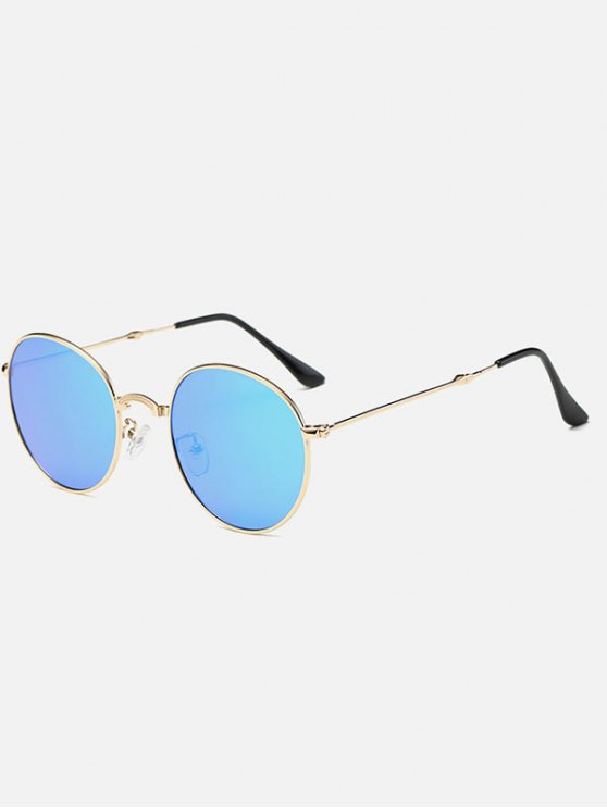 lady Cambered Nose Bridge Oval Mirror Sunglasses - ICE BLUE