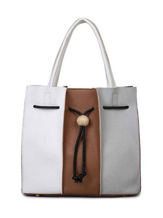String Textured Leather Colour Block Tote Bag - WHITE AND BROWN  Mobile