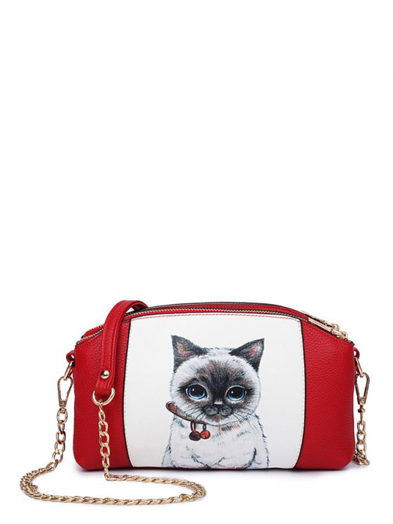 Cat Printed Double Zipper Chain Crossbody Bag - RED  Mobile