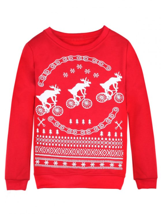 Merry Christmas Fawn Print Sweatshirt - RED M Mobile