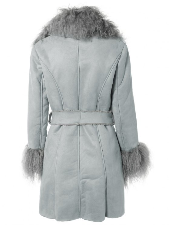 Faux Lamb Wool Coat - LIGHT BLUE ONE SIZE Mobile