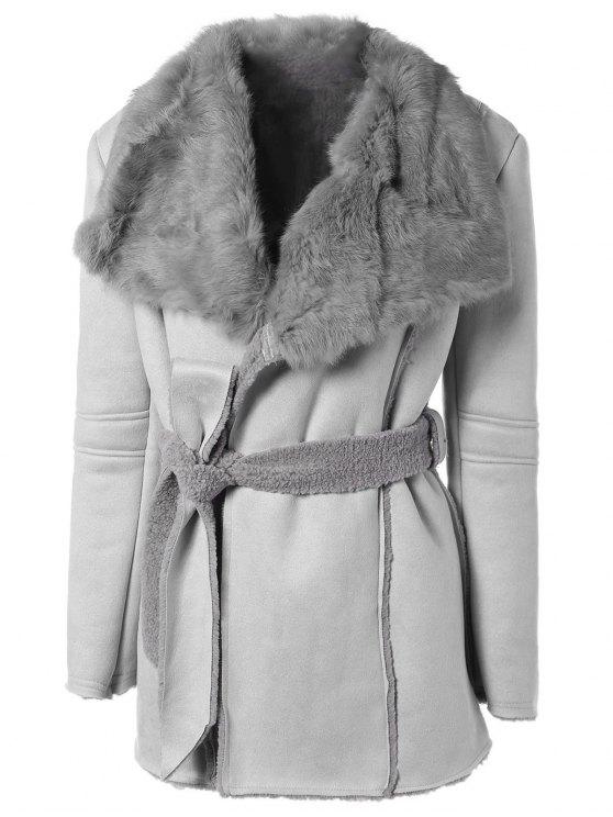 best Rabbit Fur Collar Fleece Coat - GRAY ONE SIZE