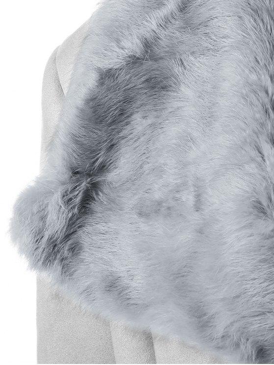 Rabbit Fur Collar Fleece Coat - GRAY ONE SIZE Mobile