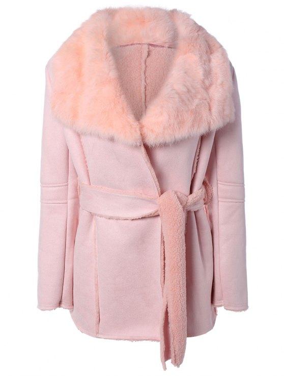 online Rabbit Fur Collar Fleece Coat - PINK ONE SIZE