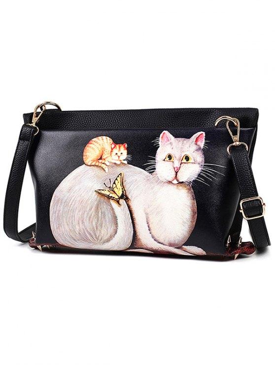 Cat Printed Colour Block Rivets Crossbody Bag - BLACK  Mobile