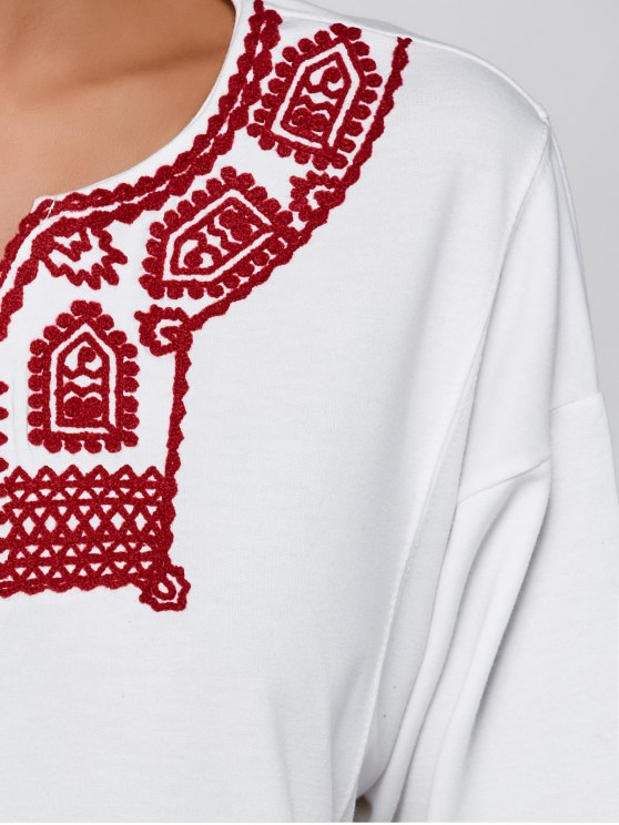 Relaxed Fit Embroidered Sweatshirt - WHITE M Mobile