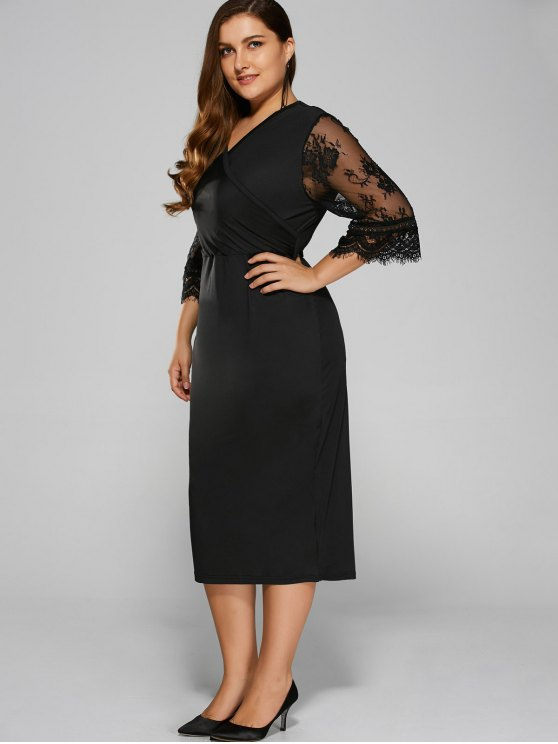 Cut Out Plus Size Dress - BLACK 3XL Mobile